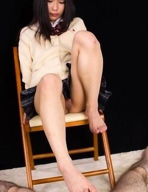 Upskirt/footjob HQ gallery starring the hottest Japanese schoolgirl, Luna Kobayashi