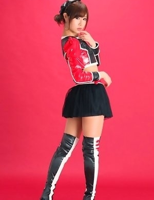 Ai Kumano is leering chick in long boots and short skirt