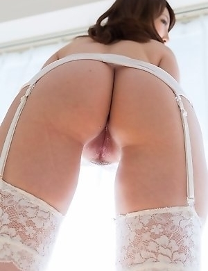 Stockings-clad cutie Aya Kisaki gets hot-dogged (assjob) from behind