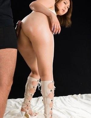 Kinky Japanese babe Ayano Hidaka is dry humping a hard cock with her juicy muff