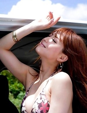Akiho Yoshizawa in sexy outfit is naughty in car and on road